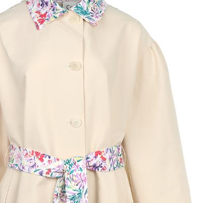 flower pattern point trench coat